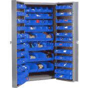 Global Industrial™ Bin Cabinet Deep Door - 132 Blue Bins, 16-Gauge Unassembled Cabinet 38x24x72