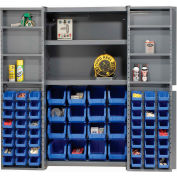 "Bin Cabinet Deep Door with 64 Blue Bins, Shelves, 16-Ga. Assembled Cabinet 38""W x 24""D x 72""H, Gray"