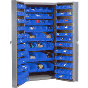 "Bin Cabinet Deep Door with 144 Blue Bins, 16-Gauge Unassembled Cabinet 38""W x 24""D x 72""H, Gray"