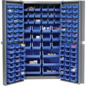 """Bin Cabinet Deep Door with 132 Blue Bins, 16-Gauge Assembled Cabinet 38""""W x 24""""D x 72""""H, Gray"""