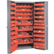 "Bin Cabinet Deep Door with 132 Red Bins, 16-Gauge Assembled Cabinet 38""W x 24""D x 72""H, Gray"