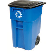 Rubbermaid® 9W27-73 Brute Recycling Rollout Container 50 Gallon, Bleu avec couvercle