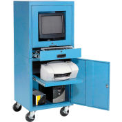 Mobile Security Computer Cabinet - Blue