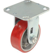 "Heavy Duty Rigid Plate Caster 4"" Polyurethane Wheel 600 Lb. Capacity"