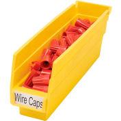 "Akro-Mils Plastic Shelf Bin Nestable 30110 - 2-3/4""W x 11-5/8""D x 4""H Yellow - Pkg Qty 24"