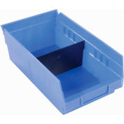 "Akro-Mils Shelf Bin Divider 40130 For 7""W x 4""H Shelf Bins, Black, Price Pack of 24"