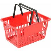 """Panier d'achat en plastique avec poignée en plastique, Grand, 19-3/8""""L X 13-1/4""""W X 10""""H, Rouge, Bon L ®, qté par paquet : 12"""