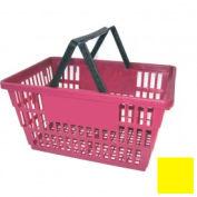 """Plastique, panier avec poignée en plastique, gros, 19-3/8"""" L X 13-1/4"""" W X 10 «H, L® jaune, bon, qté par paquet : 12"""