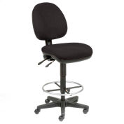 Interion® Office Stool - Fabric - 360° Footrest - Black