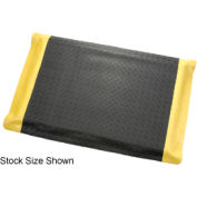 "Diamond Plate Ergonomic Mat 15/16"" Thick 48""W Full 75Ft Roll Black/Yellow Border"