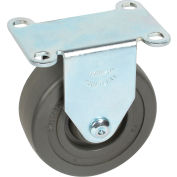"Medium Duty Rigid Plate Caster 3-1/2"" Hard Rubber Wheel 275 Lb. Capacity"