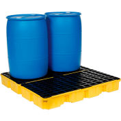 Eagle 1634 4 Drum Spill Containment Platform - 2 Piece - Yellow with No Drain