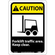 """Graphic Signs - Caution Forklift Traffic Area - Plastic 7""""W X 10""""H"""
