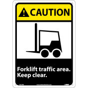 """Graphic Signs - Caution Forklift Traffic Area - Plastic 10""""W X 14""""H"""