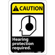 """Graphic Signs - Caution Hearing Protection - Plastic 7""""W X 10""""H"""