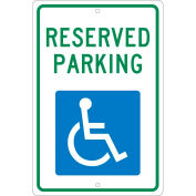 "Aluminum Sign - Reserved Parking Handicapped Logo - .063"" Thick, TM87H"