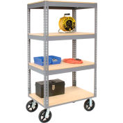 Global Industrial™ Easy Adjust Boltless 4 Shelf Truck 60 x 24 with Wood Shelves, Rubber Casters