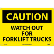 "Safety Signs - Caution Watch Out Forklift Trucks - Rigid Plastic 10""H X 14""W"