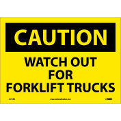 """Safety Signs - Caution Watch Out Forklift Trucks - Vinyl 10""""H X 14""""W"""