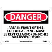 """Signe de sécurité - zone de Danger - rigide en plastique 7"""" H X 10"""" W"""