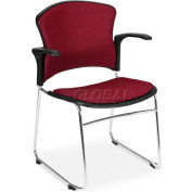 OFM Multi-Use Stack Chair with Arms, Fabric Seat and Back, Wine - Pkg Qty 4