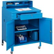 "Global Industrial™ Mobile Cabinet Shop Desk w / Pigeonhole Riser, 34-1/2""W x 30""D, Bleu"
