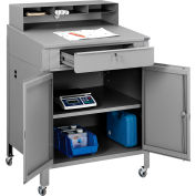 "Global Industrial™ Mobile Cabinet Shop Desk w/ Pigeonhole Riser, 34-1/2""W x 30""D, Gray"