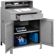 "Global Industrial™ Cabinet Shop Desk w/ Pigeonhole Riser, 34-1/2""W x 30""D, Gray"
