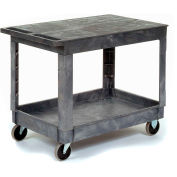 Best Value Plastic Flat Top Shelf Service & Utility Cart - 5 Inch Rubber Casters