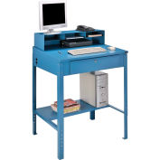"Shop Desk with Pigeonhole Compartment Riser 34-1/2""W x 30""D x 38""H Sloped Surface - Blue"