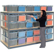 "Record Storage Rack Gray 48""W  x  24""D  x  60""H With Polyethylene File Boxes"