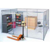 Wire Mesh Partition Security Room 10x10x8 without Roof - 3 Sides w/ Window