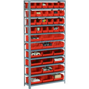 Global Industrial™ Steel Open Shelving with 42 Red Plastic Stacking Bins 11 Shelves - 36x12x73
