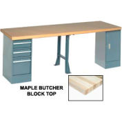 """Global Industrial™ 144""""W x 30""""D Production Workbench - Maple, Cabinet, 3 Drawer, 1 Leg, Gray"""