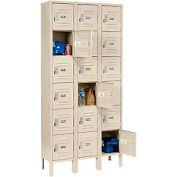 "Global Industrial™ Paramount® Six Tier 18 Door Locker, 12""Wx12""Dx12""H, Tan, Assembled"