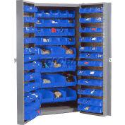 """Bin Cabinet Deep Door with 136 Blue Bins, 16-Gauge Assembled Cabinet 38""""W x 24""""D x 72""""H, Gray"""