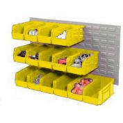 Wall Bin Rack Panel 36 x19 With 32 Yellow 4-1/8x7-1/2x3 Akro Stacking Bins