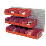 Wall Bin Rack Panel 36 x19 With 18 Red 5-1/2x11x5 Akro Stacking Bins