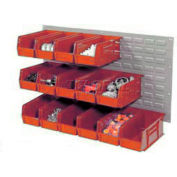 Wall Bin Rack Panel 36 x19 With 8 Red 8-1/4x11x7 Akro Stacking Bins