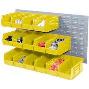 Wall Bin Rack Panel 36 x19 With 8 Yellow 8-1/4x14-3/4x7 Akro Stacking Bins