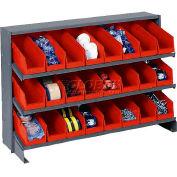 3 Shelf Bench Pick Rack With 24 Red Plastic Shelf Bins 4 Inch Wide 33x12x21