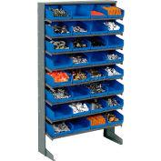 8 Shelf Floor Pick Rack With 32 Blue Plastic Shelf Bins 8 Inch Wide 33x12x61