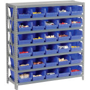"Steel Shelving with 30 4""H Plastic Shelf Bins Blue, 36x12x39-7 Shelves"