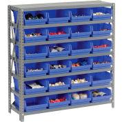 "Steel Shelving with 24 4""H Plastic Shelf Bins Blue, 36x12x39-7 Shelves"