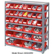 "Steel Shelving with 24 4""H Plastic Shelf Bins Red, 36x12x39-7 Shelves"
