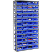 "Steel Shelving with 48 4""H Plastic Shelf Bins Blue, 36x12x72-13 Shelves"