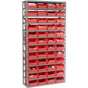 "Steel Shelving with 48 4""H Plastic Shelf Bins Red, 36x12x72-13 Shelves"