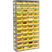"Steel Shelving with 48 4""H Plastic Shelf Bins Yellow, 36x12x72-13 Shelves"