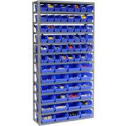 "Steel Shelving with Total 72 4""H Plastic Shelf Bins Blue, 36x12x72-13 Shelves"