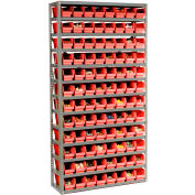 "Steel Shelving With 144 4""H Plastic Shelf Bins Red, 36x12x72-13 Shelves"